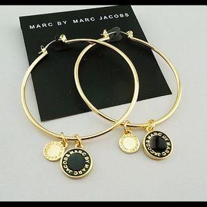 """Marc By Marc Jacobs 2"""" Gold & Black Hoop Earrings"""